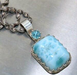 NECKLACE SIGNED NW 925 LARIMAR BLUE TOPAZ STONE IBB ITALY SILVER CHAIN WOW! P3