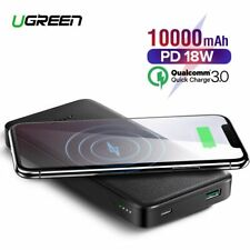 Ugreen 10000mAh Power Bank Portable Charging Wireless 10W USB PD For iPhone X XS