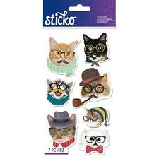 Scrapbooking Crafts Stickers Stickos Hipster Cats Dressed Up Glasses Hats Scarf