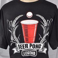 Beer Pong Legend Crest Mens T-shirt 2XL XXL Red Cup Anchor Blue Drunk Sports