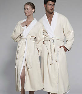 NEW Kassatex Luxury Resort Quality Spa Robe Cotton with Velvet Terry Lining