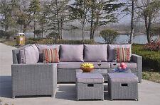 Conservatory Modular 9 Seater Rattan Corner Sofa Set Garden Furniture Grey A0