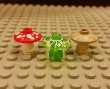 Lego NEW Set/3 Mushrooms - Red, Tan, And Bright Green - 2x2 Printed Radar Dish