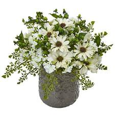 Nearly Natural Daisy Bush Silk Arrangement in Vase, White / Green New