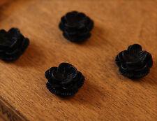 10x Resin Cabochons Blumen zum Kleben 13mm schwarz tm315