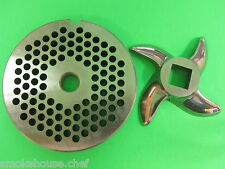 "#22 x 3/16"" Meat Grinder PLATE & KNIFE STAINLESS  fits Hobart Tor-Rey LEM & More"