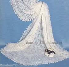 VINTAGE KNITTING PATTERN FOR A BEAUTIFUL LACE PATTERNED SHAWL IN 3 PLY FOR BABY