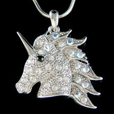 Clear Unicorn made with Swarovski Crystal Fairy Tale Horn HORSE Pegasus Necklace