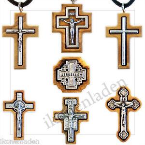 Kreuz versilbert Kruzifix + Kette Oliven Baum Handarbeit  Holy Land Jerusalem
