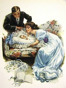 Harrison Fisher Girl FIRST BABY THEIR NEW LOVE 1912 Antique Art Print Matted
