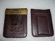 MAGNETIC MONEY CLIP  FRONT POCKET OUTSIDE ID GENUINE LEATHER WALLET