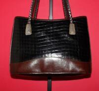 BRIGHTON Black Brown Croco-embossed Leather Braided Shoulder Tote Purse Bag