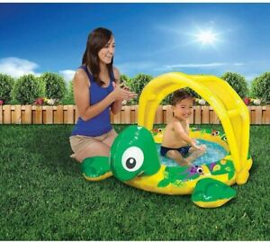 Banzai Jr. 84020 Shady Time Turtle Paddling Pool, Multi-Colour With Sun Shade