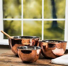 Hammered Stainless Steel Copper Mixing Bowl Set of 3 Kitchen