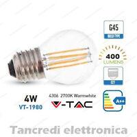 Lampadina led V-TAC 4W = 40W E27 bianco caldo 2700K VT-1980 G45 filamento globo