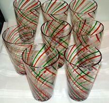 Set Of 8 Crate & Barrel Green Red White Swirl Mint Highball Glasses Tumblers