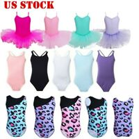 US Girls Gymnastics Ballet Dance Leotard Ballerina Dancewear Tutu Dress Costumes