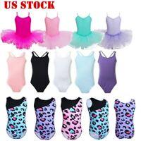 US Girls Gymnastics Ballet Dance Leotard Ballerina Dancewear Tutu Dress Costumes