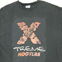 Destroyed Vtg Xtreme Hooters T-Shirt XL Faded Black Grunge Goth Biker