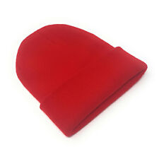 Beanie Hat Wholesale Slouch Mens Ladies Warm Winter Woolly Turn up Neon Unisex Red 100