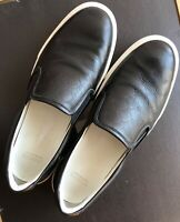 MONCLER BLACK SLIP-ON LEATHER SNEAKERS MEN SHOES EU45 / US11