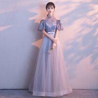 Women's Elegant Lace Floral Mesh Long Dress Cocktail Formal Evening Slim Dresses