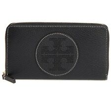 NWT Authentic TORY BURCH Perforated-Logo Zip Continental Wallet in Black $195