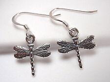 Small Dragonfly Earrings 925 Sterling Silver Dangle Corona Sun Jewelry