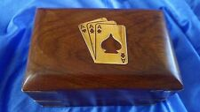 WOODEN & BRASS DOUBLE CARD BOX POKER GAMES GIFT WITH TWO PACKS OF CARDS