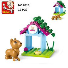 Sluban B0513 Pink Dog House Animal Figures Building Block Toys blocks toy