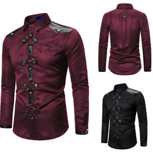 Punk Rave Mens Gothic Shirt Top Long Sleeve Button Down Rock Stage  Clubwear