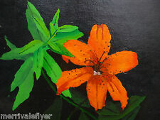 Original OIL Painting still life ALSTROEMERIA TIGER LILY botanical flower orchid