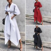 Women Evening Party Club Bell Sleeve V Neck Asymmetrical Cross Belt Long Dress