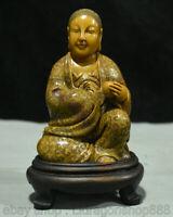 """6,8 """"vieux chinois Shoushan pierre sculpté Lohan Arhat Bouddha Statue Sculpture"""