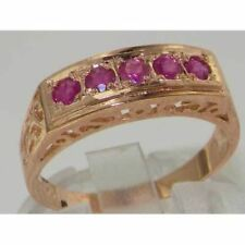UNUSUAL ANTIQUE DESIGN SOLID 9CT ROSE GOLD GENUINE NATURAL RUBY BAND RING