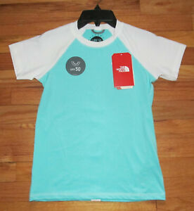 The North Face Girls SS Amphibious T Mint Blue UPF 50 Swim Top M, L, XL NWT