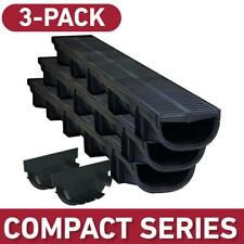 U.S. Shallow Trench Channel Drain Grate Driveway Walkway Compact Black 3-Pack