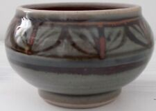 Grey & Brown Ethnic Leaf Pattern Small Handmade bowl, pottery bowls, moroccan