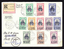 1944 Ethiopia Ethiopian registerd cover Addis Ababa to Bath GB Par Avion R-Brief