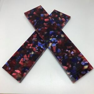 "KIRINITE: Nebular (Red Chip) 1/4"" 6"" x 1.5"" Scales for Wood Working, Knife Makin"