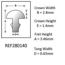 Sintoms 18% Nickel Repair Silver Fret Wire 2.8mm. Set of 12 pieces. 0.63mm tang
