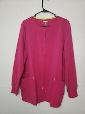 New ScrubStar Women's Button Front Scrub Jacket Size Large Pink Pockets