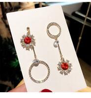 Circle Tassel Earring Women Stud Long Dangle Fashion Earrings Crystal Asymmetric