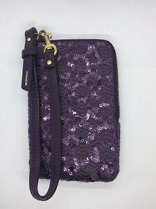 Coach Poppy Purple Sequin North South Universal Camera Phone Case Wristlet