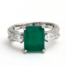 Real 925 Sterling Silver Green Emerald Cut Ring CZ Size US6.25 Christmas Jewelry