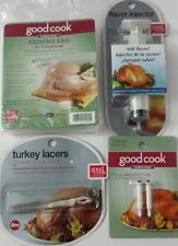 """NIP"" Good Cook Turkey Lacers Flavor Injector Brining Bag and Timers set of 4"