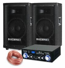 PA Anlage DJ Party Sound Lautsprecher Boxen Bluetooth Verstärker Kabel Set 600W