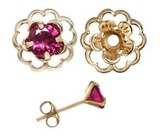 Earring Set Ruby Red Cubic Zirconia & Gold Flower Earring Jacket