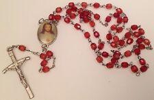 chapelet rétro perle grenat médailles religieuse couleur croix 637