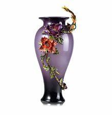 RORO Luxury Enameled 24K Gold Purple Vase, Bohemian Crystal Swarovski Decor